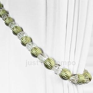 Sage Green Crystal Beaded Rope Curtain Tie Backs Tieback