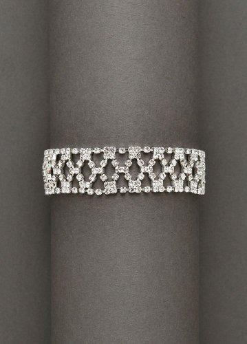 David's Bridal Crystal Fabric Bracelet Style 5910, Silver