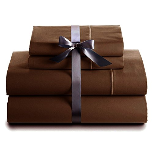 Italian 400 Thread Count Solid 4Pc Queen Sheet Set (Chocolate) By Bed&Linen front-948495