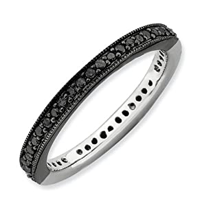 2.25mm Sterling Silver Stackable Expressions Polished Half Black White Diamond Ring - Size 8