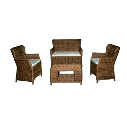 Salotto in rattan naturale con tavolo e divanetto da giardino 4 pz