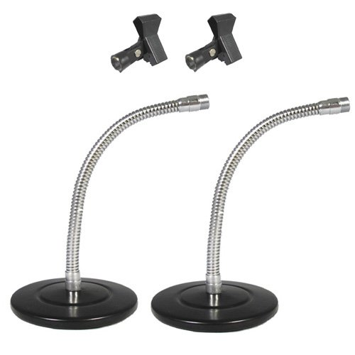 Podium Pro Tabletop Microphone Stands And Mic Clamp Clips Gooseneck Dj Podcast 2 Stand Set Ms3Mc1-2S