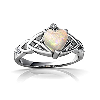 14kt Gold Opal and Diamond Heart Claddagh Trinity Knot Ring