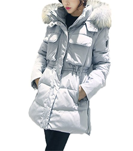 5-ALL Womens Big Fellkragen Hoodie Multi-Tasche Slim Fit Down Jacket Coat