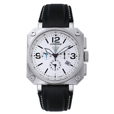 Junkers Men's Chrongraph Alarm Watch 67901 With Polished Steel Case And Corrugated Effect On Dial