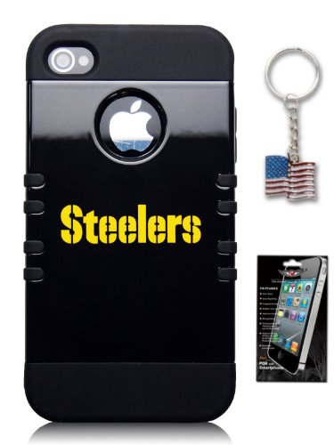 Pittsburgh Steelers Hybrid Rocker Series Official NFL Cover Case for Apple iPhone 4 & 4S - **Includes Bonus Screen Protector & American Flag Keychain** at Amazon.com
