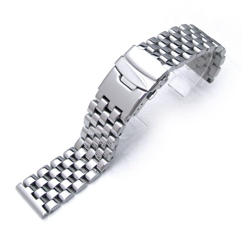 20mm-Polished-Engineer-Solid-Link-316l-Stainless-Steel-Watch-Bracelet-Band