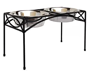 """Regal Double Bowl Elevated Diner - 12"""" Tall - Raised Dog Feeder - Black"""