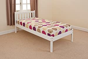 3ft SINGLE PINE BED   WHITE with LUXURY MATTRESS Kerri Scandinavia       reviews and more information