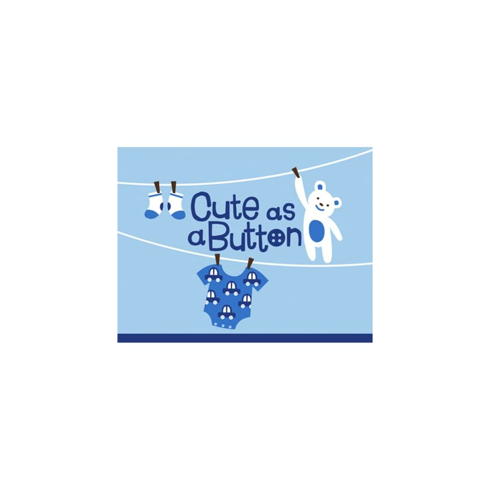 Cute as a Button Boy Baby Shower Invitations 8 ct