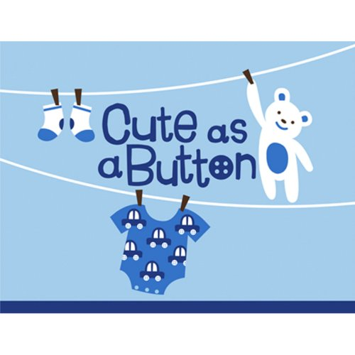 Cute as a Button Boy Baby Shower Invitations-8 ct