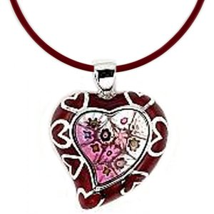Sterling Silver Red Murano Glass Heart Pendant with Rubbber Cord (Nickel-Free)
