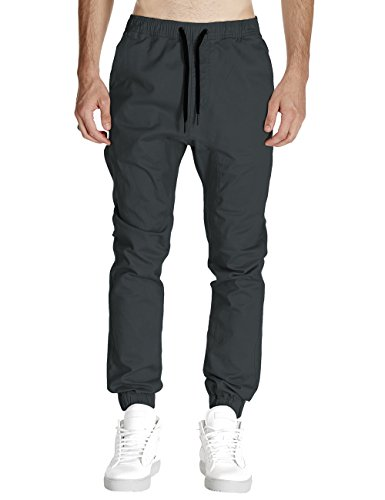 Italy Morn Men Drop Crotch Joggers Pants Skinny Chinos Khakis Pant Casual Harem Trousers Sweatpants Sport Jogging Baggy Cotton Twill Black (S(Size28-30), Dark Grey)