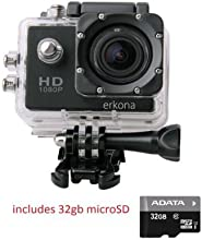 Erkona 1080P Waterproof Action Camera Camcorder DV and 32gb microSD included...Sports Camera 12MP HD DVR Camcorder + Mounting Accessories Kit