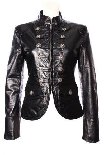 Smart Range Women's Military Parade Style Fashion Soft Real Nappa Leather Jacket 16 Black