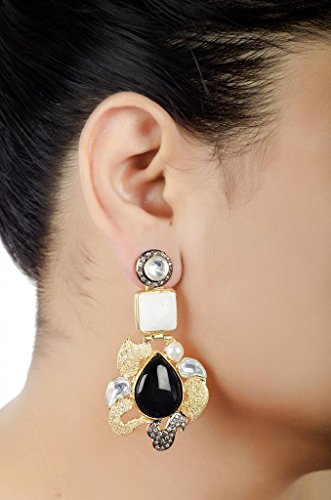 E-designs Rhodium \/ Gold Plated Earring with CZ stone alongwith Colour Stones Studded for Women (multicolor)