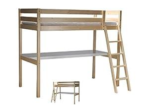 weber industries 32532 aspen lit mezzanine bureau avec sommier vernis naturel 199 x 99 x 170. Black Bedroom Furniture Sets. Home Design Ideas