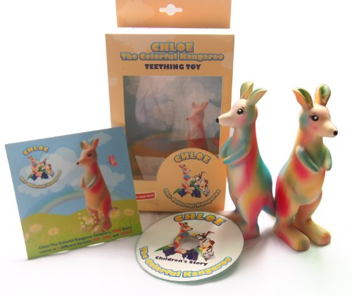 Baby Teether Chloe The Colorful Kangaroo - 100% Money Back Guaranteed - Bpa And Phthalate Free - 100% Natural Hevea Rubber front-65035