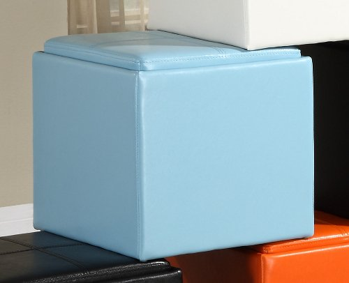 Storage Cube Ottoman in Blue Bi-cast Vinyl of Ladd Collection by Homelegance