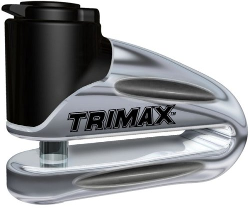 Trimax T665LC Hardened Metal Disc Lock - Chrome 10mm Pin (Long Throat) with Pouch & Reminder Cable