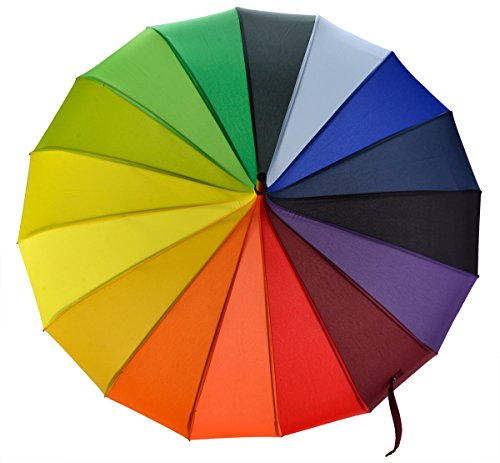 OUTGEEK Rainbow Umbrella Pagoda Long Handle Vintage Windproof Umbrella Parasol 5
