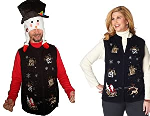 Ugly Christmas Sweater + Hat - Unisex Santa Sequin Holiday Vest + Snowman Face Hat from C&J Holiday