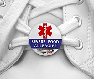 SEVERE FOOD ALLERGIES I Carry an EpiPen Medical Alert Pair of 1 inch Shoe Charm Tags from Creative Clam