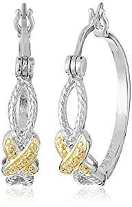 Sterling Silver Cubic Zirconia Crossover Hoop Earrings (0.1 cttw) from Amazon Collection