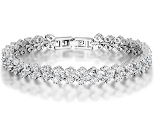 Ninabox ® Snow Queen Collection [SQC] -- Snow Queen. White Gold Plated Alloy Tennis Bracelet with Clear Swarovski Elements Zircons. Women's Fashion Wedding Jewelry. Bracelet Length: 17cm. BAG03865WW