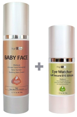 [Free Expedited Shipping] AgeBloc Organic Skin Care Anti-Aging Moisturizer Set Includes Baby Face($48) Moisturizer And Eye Watcher Cell Secure Eye Serum($62).