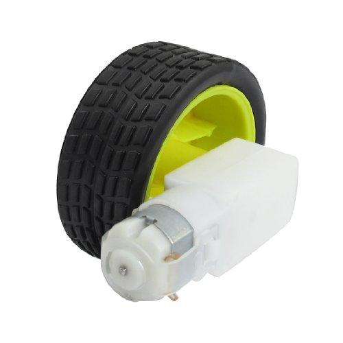 Diy Robot Smart Car 15Rpm 3V Monoaxial Dc Geared Motor W Tire Wheel