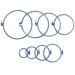 CurtzyTM 8 Piece Round Circle Plastic Embroidery Cross Stitch Hoop Set 7cm-24.5cm/3-9.5inches