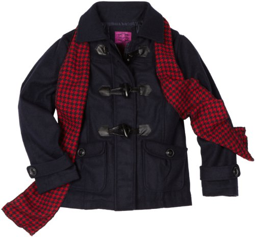 Velvet Chic Girls 7-16 Toggle Coat with Scarf, Navy, 7/8