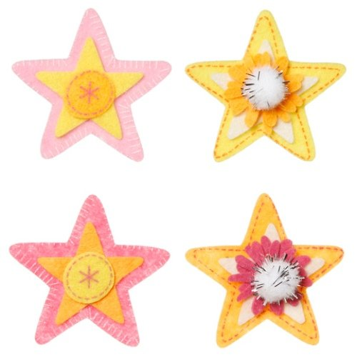 WeGlow International Felt Embellishment Pastel Color Stars, Set of 8