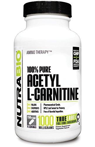 NutraBio 100 % pur acétyl L-Carnitine (1000mg) -