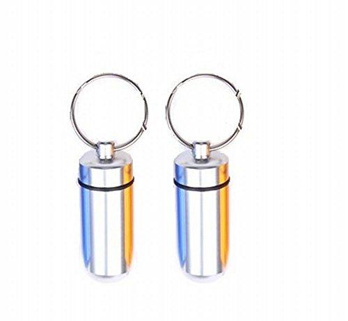 【ノーブランド品】携帯型 ピル ニトロ 薬入れ 千錠 メモリアル ケース 防水 ゴムパッキン 仕様 シルバー 2個セット