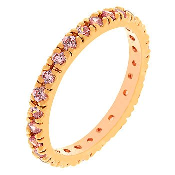 14k Gold Bonded Eternity Ring with Channel Set Pink Ice Cz in Goldtone Women Jewelry (5)