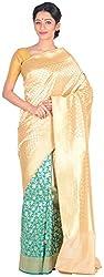 Sree Howrah Stores Women's Silk Saree with Blouse Piece (Cream)
