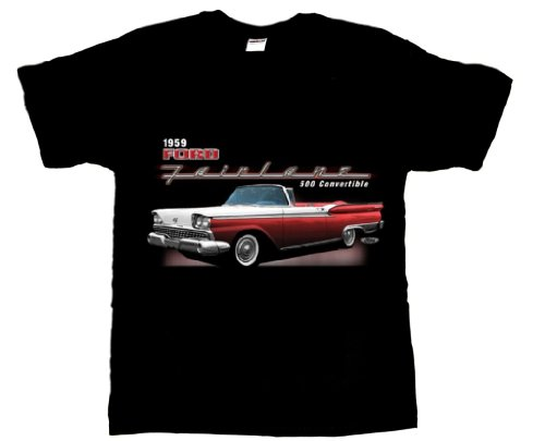 Beach Graphic Pros Pros 1959 Ford Fairlane convertible Classic Car Adult T-shirt-Large, Black