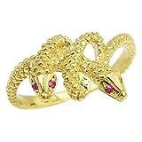 真珠の杜 ヘビ リング ルビー スネーク 蛇 ヘビ 指輪 K18 ゴールド 金運アップ 開運 パワーストーン 12号