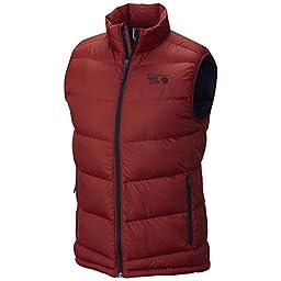 Mountain Hardwear Men\'s Outdoor Ratio Down Vest, Smolder Red, Hardwear Navy, M