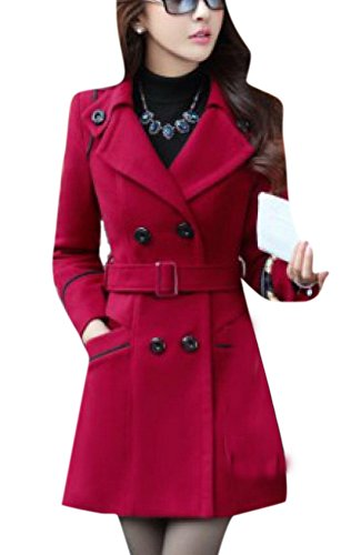 enlishop-women-winter-classic-plus-size-pocket-belt-woolen-trench-coat-blue