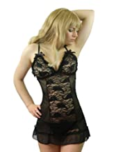 Yummy Bee Lingerie Babydoll Dress Set Black + Lace Stockings Plus Size 8 - 26