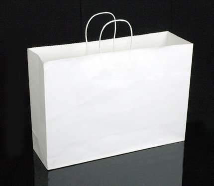Halulu Kraft White Paper Bags - Party Bag, Shopping Bag, Merchandise Bag - Retail Bag With Handle, 50pc - 16x6x12