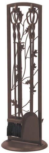 "Learn More About Panacea Fireplace Tool Set 5 Piece, Oak Leaf 30"", Colonial Brown"