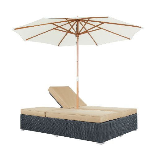 Modway arrival outdoor wicker rattan patio dual chaise for Black friday chaise lounge