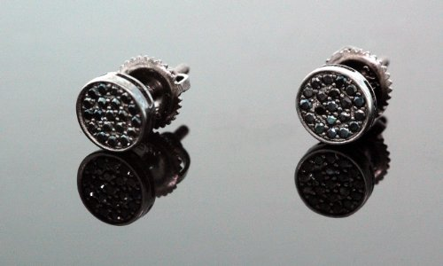 .925 Sterling Silver Black Circle Black Onyx Crystal Micro Pave Unisex Mens Stud Earrings 6mm