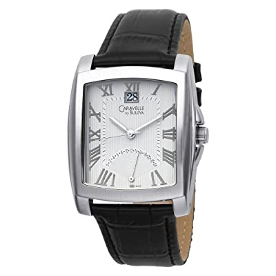 Caravelle by Bulova Men's 43B008 Leather Strap Silver and White Dial Watch from Caravelle by Bulova
