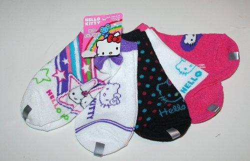 Hello Kitty Girl's No Show Socks 5 Pair-5 Designs Size: 6-8.5