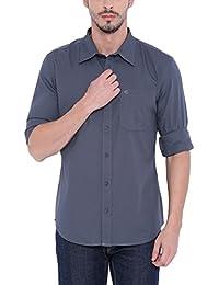 Blue Wave Cotton Dark Grey Casual Shirt For Men